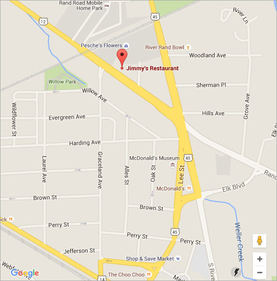Link to Google Map for Jimmy's Restaurant in Des Plaines